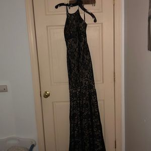 Long black lace with nude undertone dress